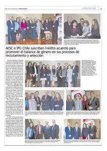 """""""Inédito acuerdo para promover balance de género en reclutamiento"""", Vida Social, el Mercurio, 20/10/17"""