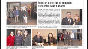 """""""Todo un éxito fue el segundo encuentro Club Laboral"""", Diario Financiero, 27/08/16"""