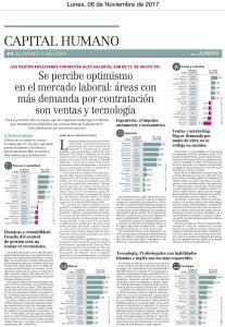"""""""Se percibe optimismo en el mercado laboral: áreas con más demanda por contratación son ventas y tecnología"""", Capital Humano, Economía y Negocios, el Mercurio, 6/11/17"""