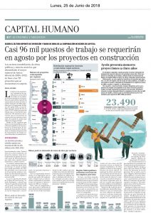 """""""Casi 96 mil puestos se requerirán en Agosto por proyectos en construcción"""", Capital Humano, el Mercurio, 25/6/18"""