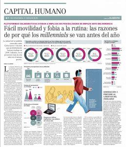 """""""Fácil movilidad y fobia a la rutina: las razones de por qué los millennials se van antes del año"""", Capital Humano, diario el Mercurio, 12/11/18"""