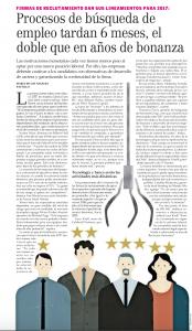 """""""Procesos de búsqueda de empleo tardan 6 meses, el doble que en años de bonanza"""", Economía y Negocios, el Mercurio, 27/03/17"""