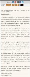 """""""¿La indemnización es una barrera a la movilidad laboral?"""", Carta a la Directora, Diario Financiero, 11/12/18"""