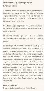 """""""Mentalidad 4.0 y Liderazgo Digital"""", Carta a la Directora, Diario Financiero, 28/11/18"""
