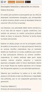 """""""Desempleo femenino y educación en ciencias"""", Carta a la Directora, Diario Financiero, 31/10/18"""
