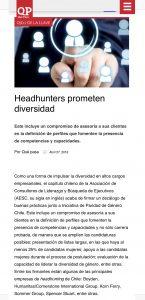 """""""Headhunters prometen diversidad"""", Revista Qué Pasa, 27/04/18"""