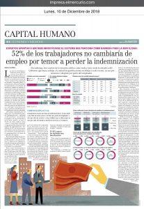 """""""52% de los trabajadores no cambiaría de empleo por temor a perder indemnización"""", Capital Humano, Economía y Negocios, diario el Mercurio, 10/12/18"""