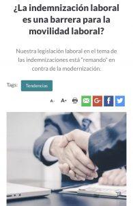 """""""¿La indemnización laboral es una barrera para la movilidad laboral?"""", Formación Ejecutiva, Diario Financiero, 11/12/18"""