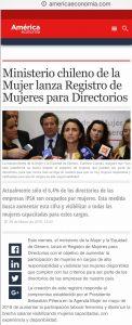 """""""Ministerio de la Mujer lanza Registro de Mujeres para Directorios"""", americaeconomía.com, 29/03/19"""