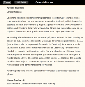 """""""Agenda de Género"""", carta a la Directora, Diario Financiero, 31/5/18"""