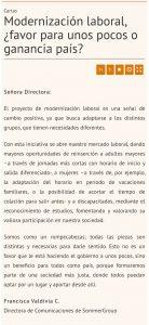 """""""Modernización laboral, ¿favor para unos pocos o ganancia país?"""", Carta a la directora, Diario Financiero, 8/05/19"""