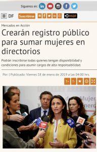 """""""Crearán registro público para sumar mujeres en directorios"""", Diario Financiero, 18/01/19"""