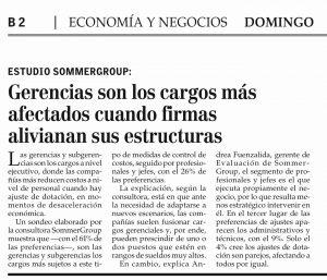 """""""Gerencias son los cargos más afectados cuando firmas alivianan sus estructuras"""", Economía y Negocios, el Mercurio, domingo 10/07/17"""