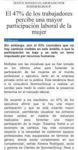 """""""Positiva percepción de la participación laboral de la mujer"""", Capital Humano, Economía y Negocios, diario El Mercurio, 7/8/19"""